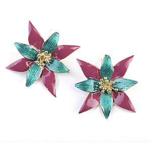 Green & Purple Flower Earrings