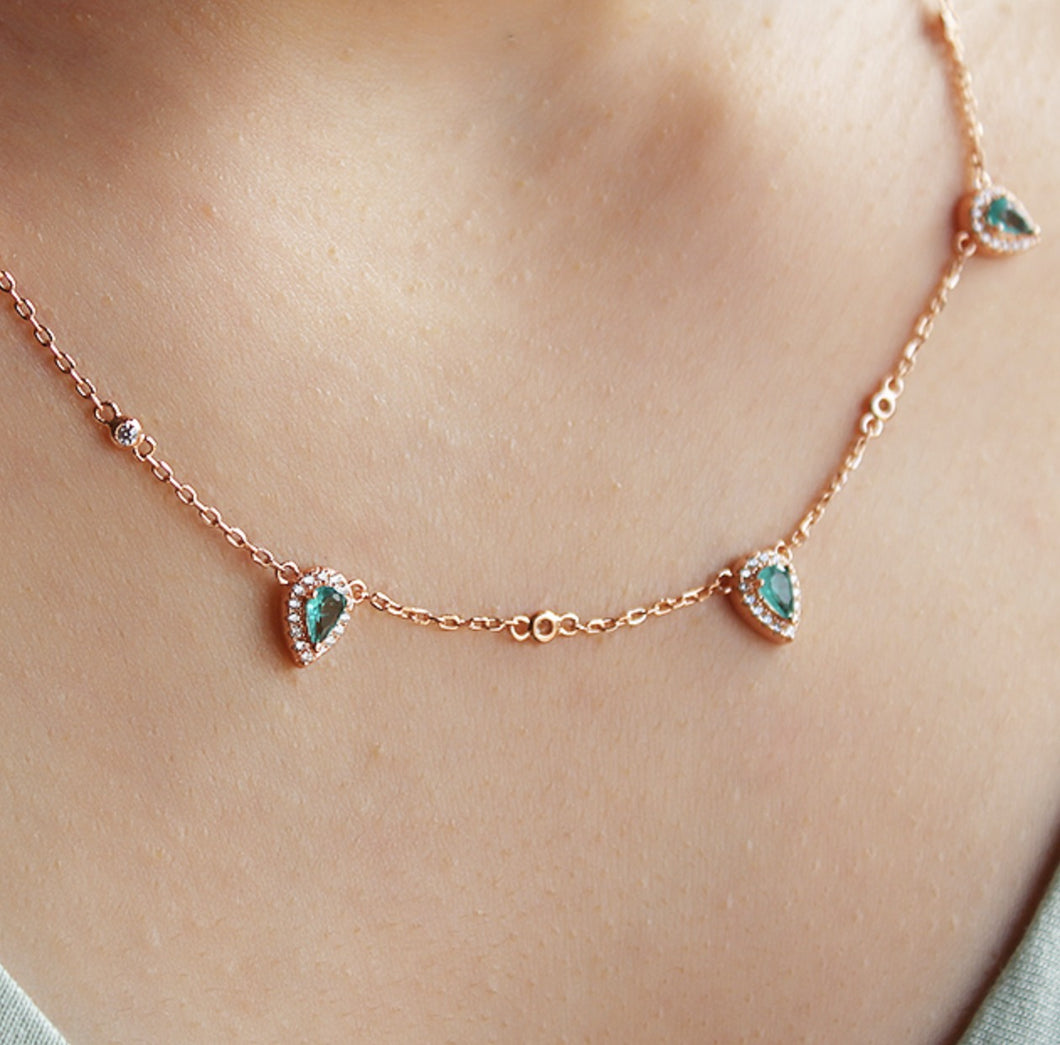 Delicate Green Drop Necklace