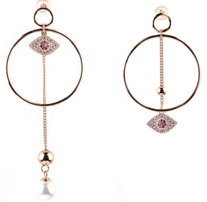 Hoop Earrings with Zircon Stones