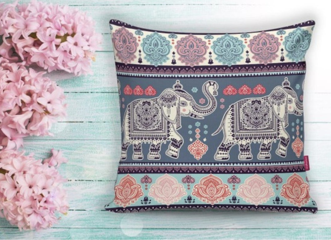 Colorful Elephant Design Cushion Cover - 17
