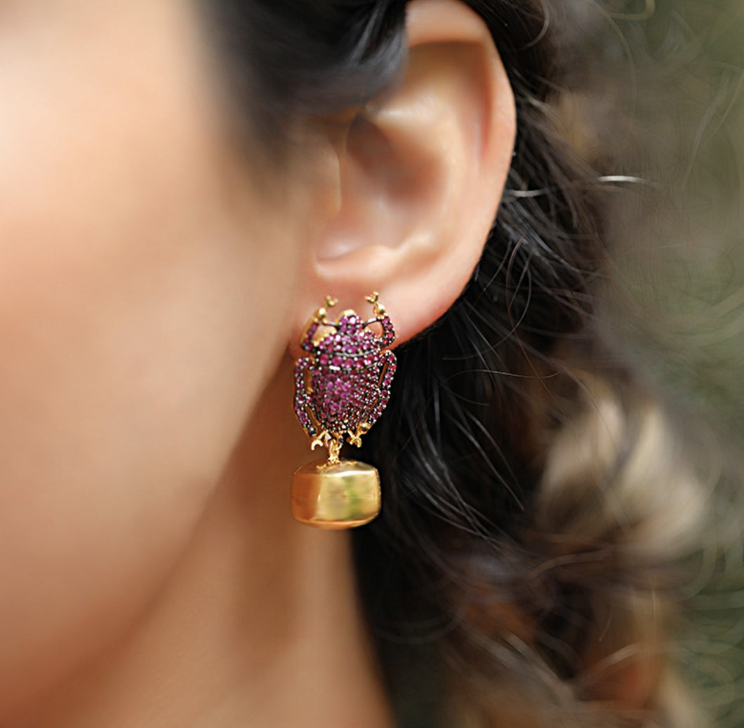 Mini Pink Insect Earrings