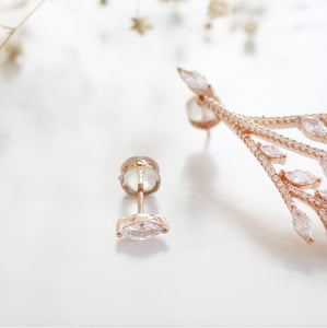 Rose Gold Leaf  Stud Earrings