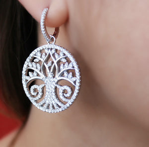 Detachable Silver Tree Of Life Earrings With Zircon Stones