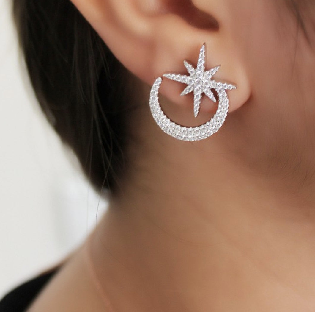 Moon and Star Silver Earrings With Zircon Stones