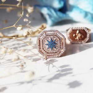 Octagon Ring With Blue Star