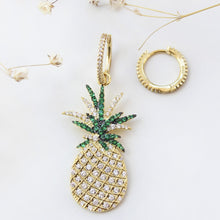 Load image into Gallery viewer, Hoop With Dangling Pineapple Earrings