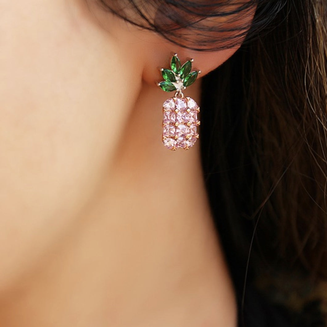 Green Pink Zircon Stone Pineapple Earrings