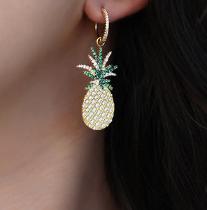 Hoop With Dangling Pineapple Earrings