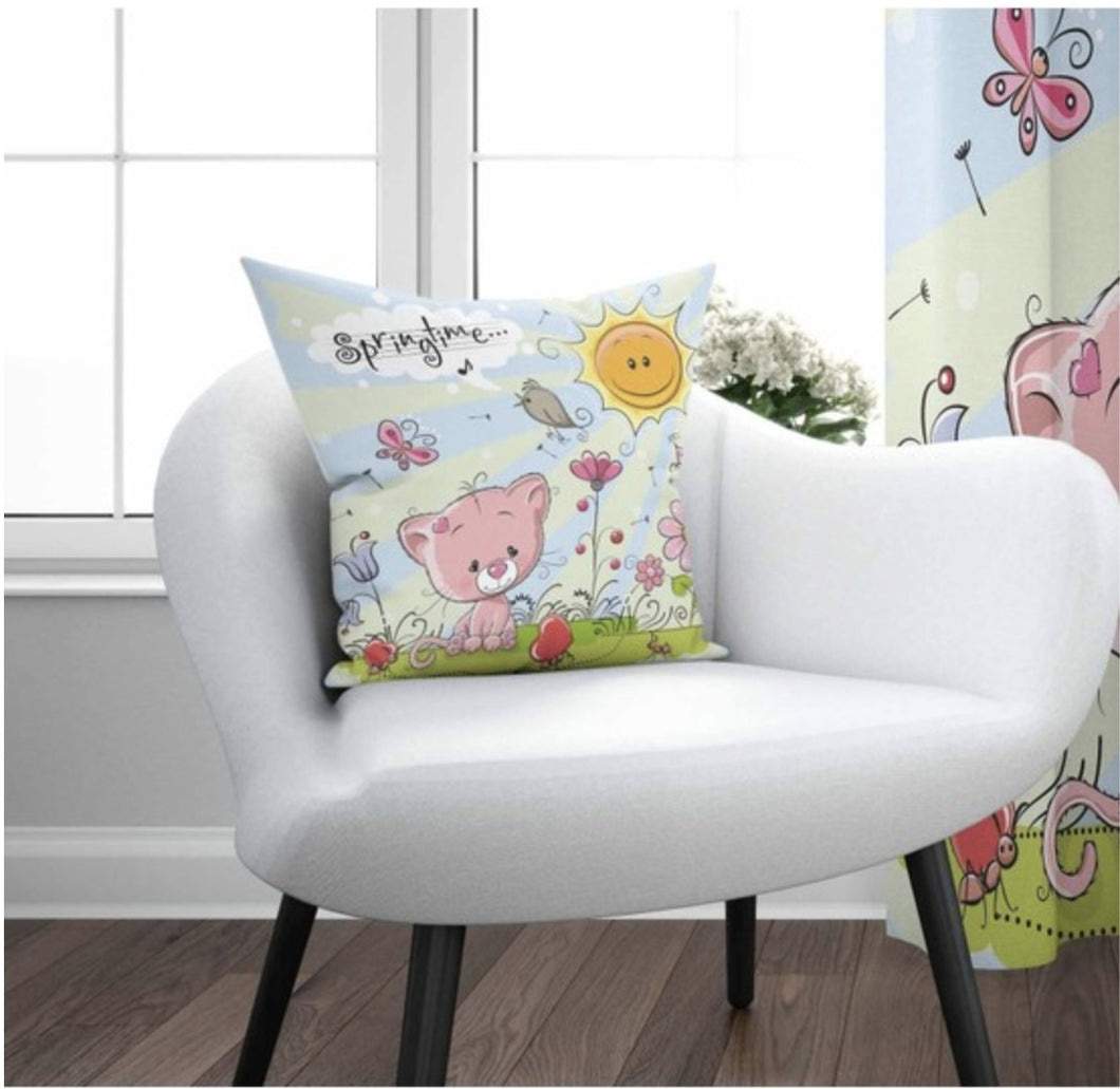 Pink Cat Cushion Cover - 17