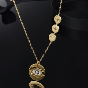Zircon Lucky Eye Pendant Necklace 925 Sterling Silver Fine Necklace