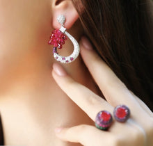 Load image into Gallery viewer, Sterling Silver Earrings With Red Crystals