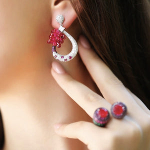 Silver Hoop With Red Crystal Earrings