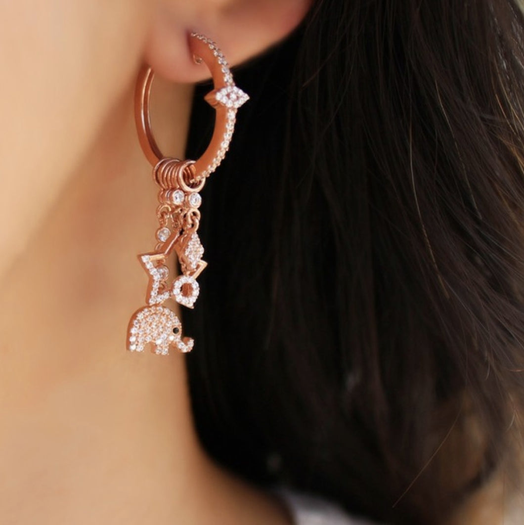 Hoop With Dangling Rose Elephant Earrings