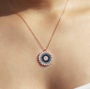 Luckily Pendant, Round Evil Eye Necklace