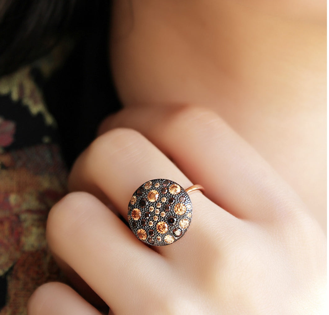 Round Black Zircon Stone Ring