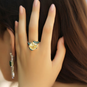 Yellow Stone Cocktail Ring