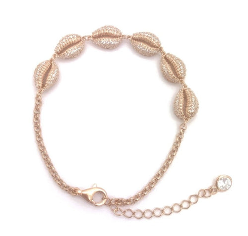 Sea Shell Bracelet, Rose Gold Plating