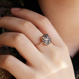 Black Zircon Stone Ring in Rose