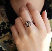 Load image into Gallery viewer, Black Zircon Stone Ring in Rose
