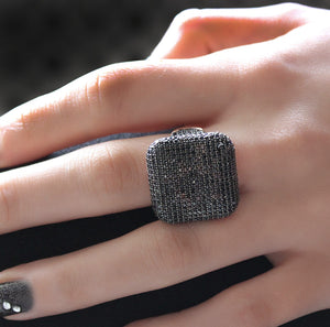 Black Smokey Zircon Stone Ring
