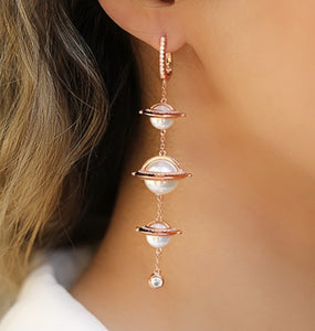 Rose Gold Plating Pearl Statement Earrings
