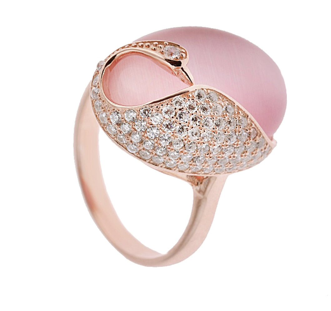 Pink Zircon & Cats Eye Stone Ring