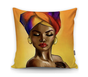 "African Tribal Lady Orange Yellow Shades Printed - 17"" (43cm) Pillow Cushion Cover"