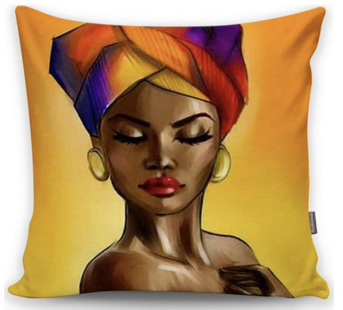 African Tribal Lady Orange Yellow Shades Printed - 17