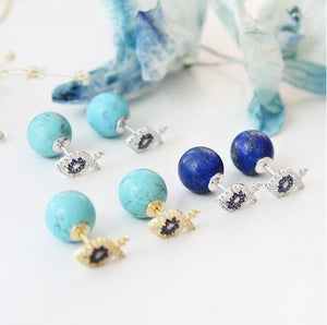 Fish Earrings With Blue Ball Stud Back