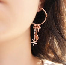 Load image into Gallery viewer, Hoop With Dangling Rose Crab and Star Earrings