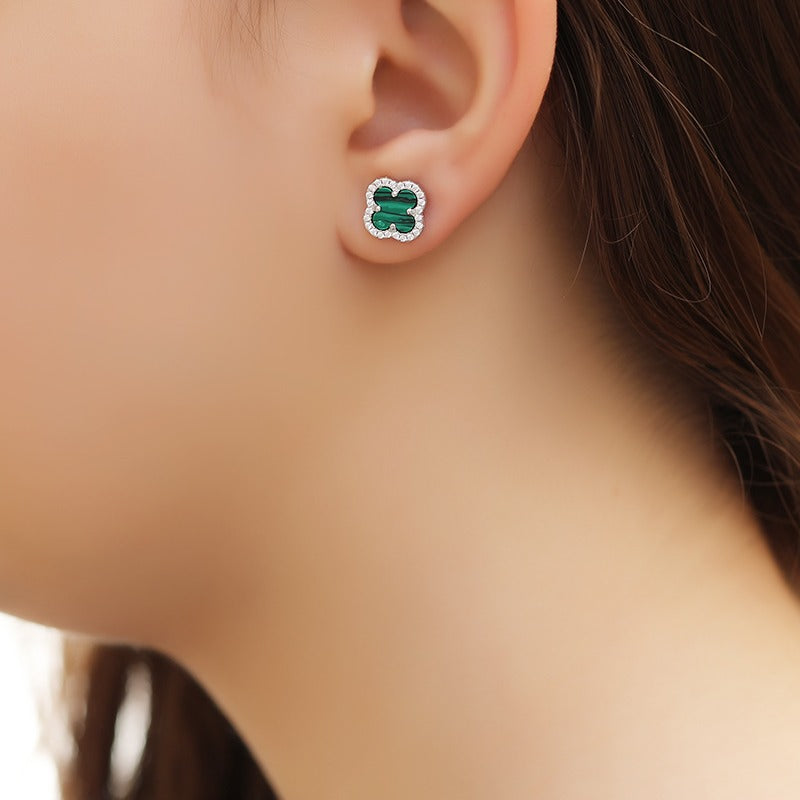 Green Flowery Earrings