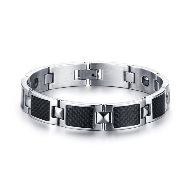 Vnox Carbon Fiber Power Stone Bracelet - Serious Carbon