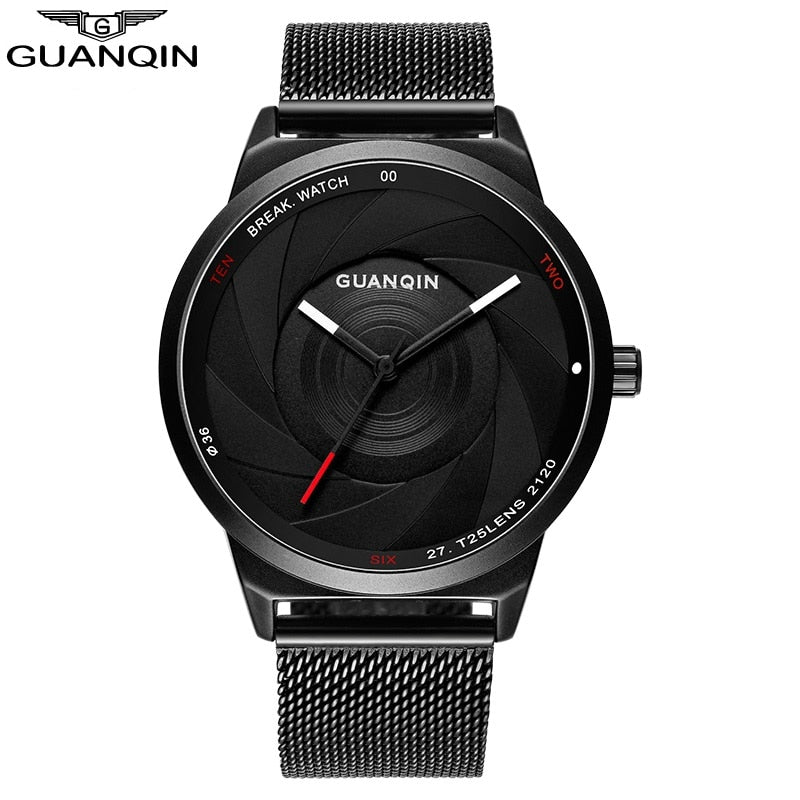 GUANQIN Carbon Fiber Dial Black Watch - Serious Carbon