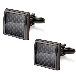 VAGULA High Quality Gemelos Carbon Fiber Cufflinks - Serious Carbon