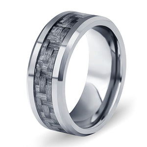 Black Carbon Fiber Tungsten Steel Ring - Serious Carbon