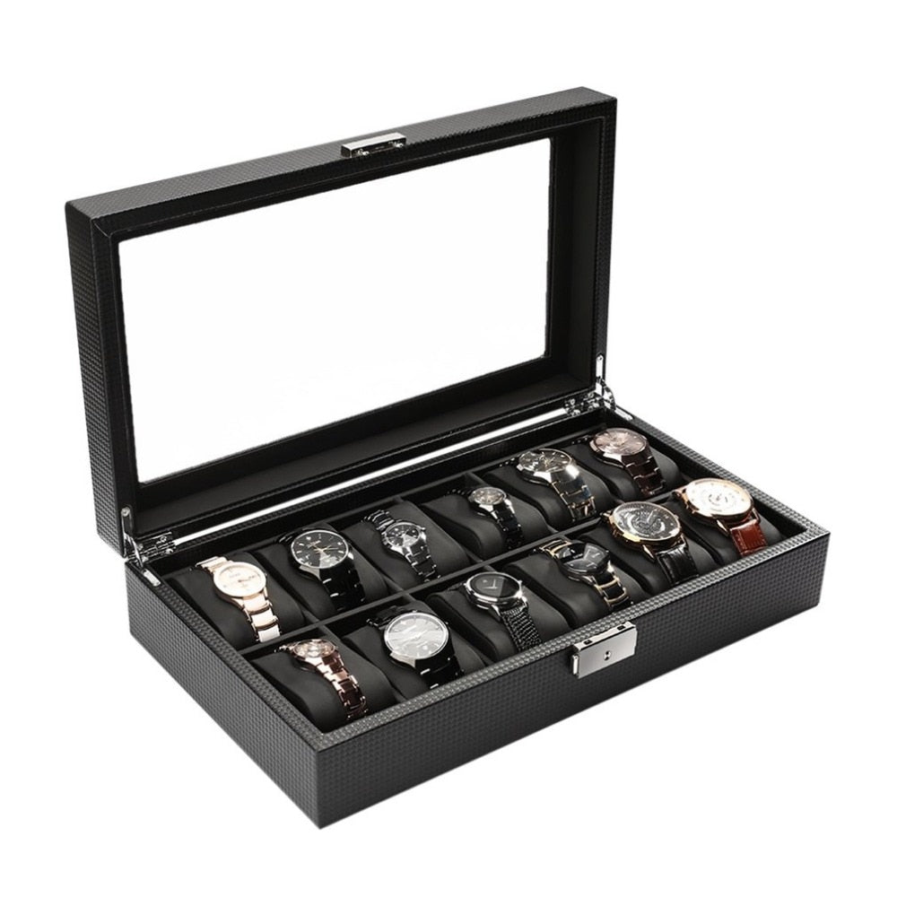 Black High-Grade 12 Slot Luxury Carbon Fiber Watch Display Case - Serious Carbon