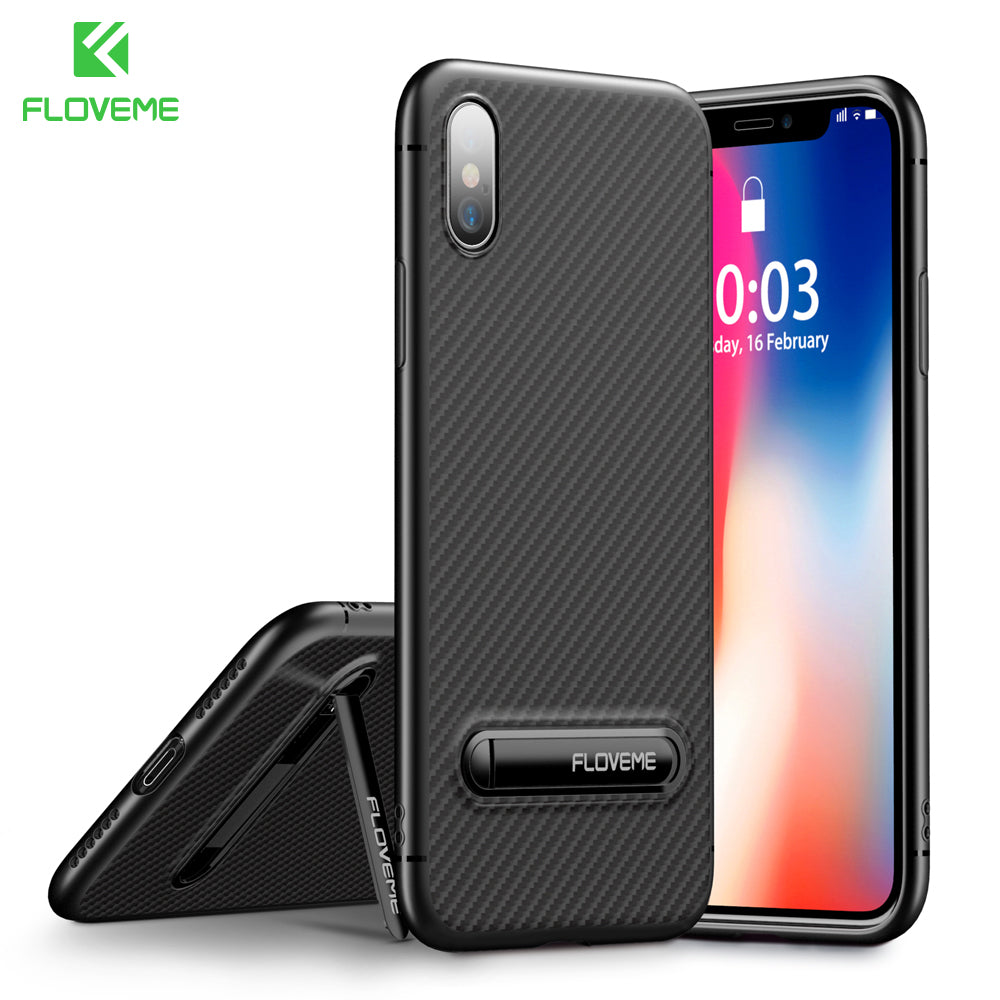 FLOVEME Carbon Fiber Soft Silicone Case for iPhone 6 Through X - Serious Carbon