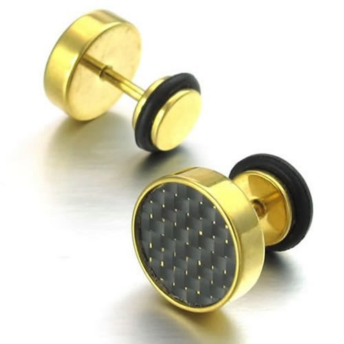 Gold Stainless Steel Carbon Fiber Stud Earrings - Serious Carbon
