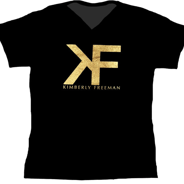 Classic Gold Monogram V-Neck T-Shirt