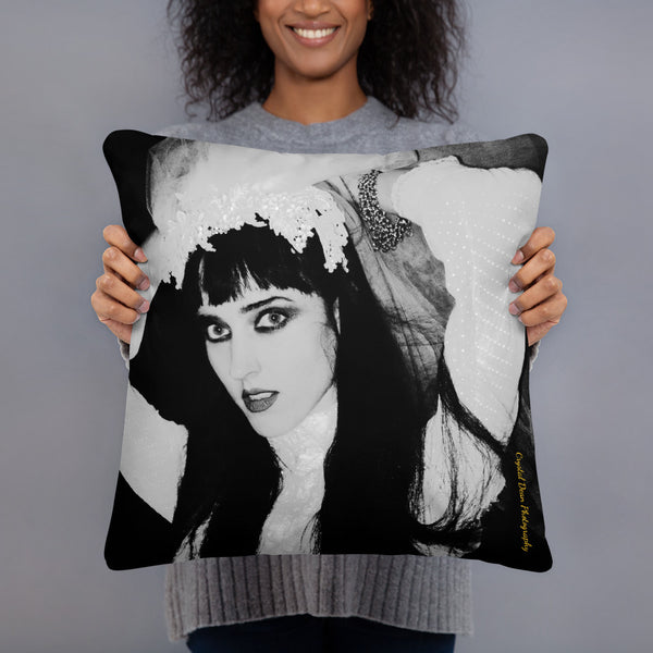 Kimberly in Black and White by Crystal Dean Pillow