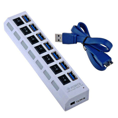 USB3.0 Hub - 7 port - White