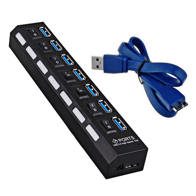 USB3.0 Hub - 7 port - Black