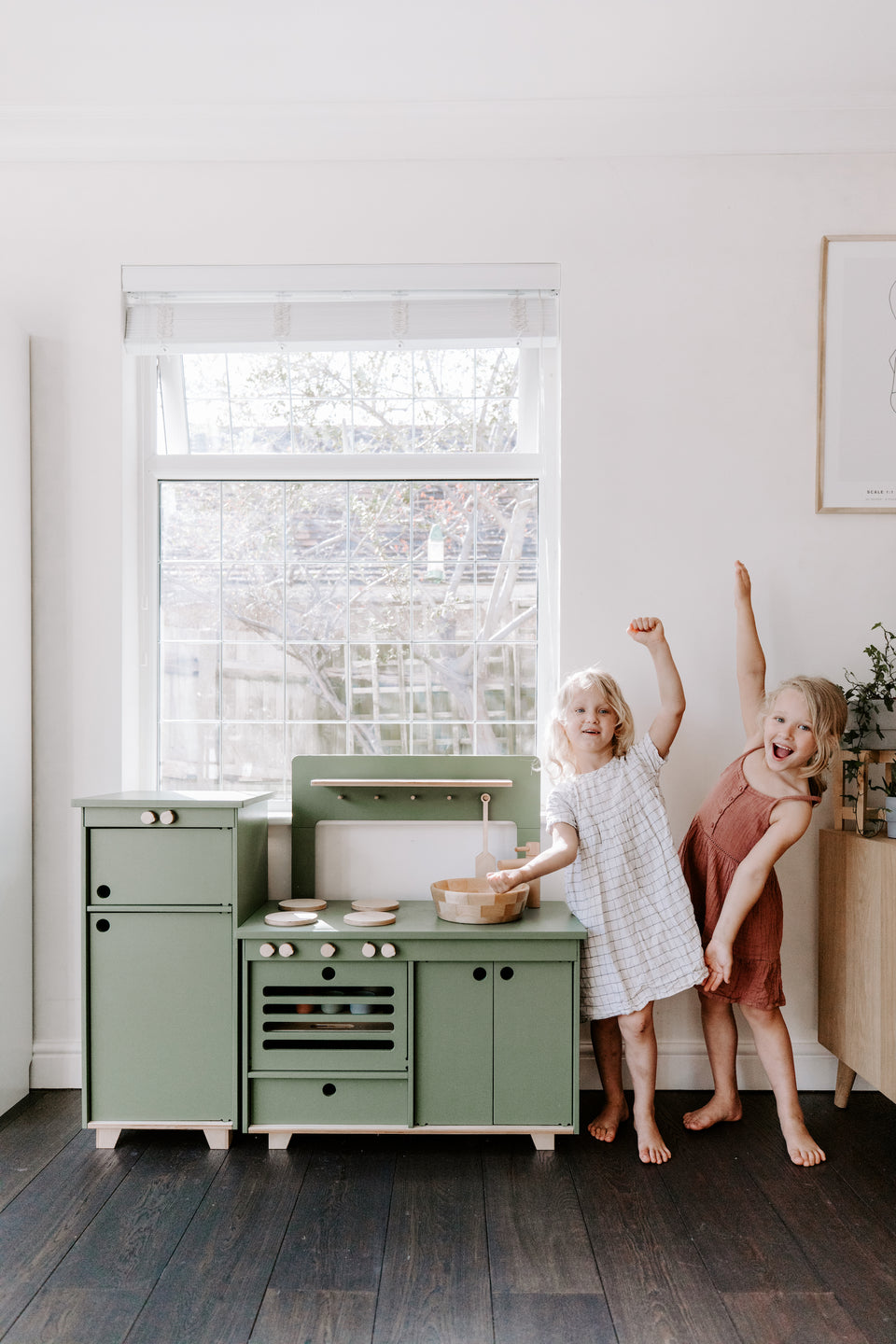 Dusty Green Plywood Play Fridge