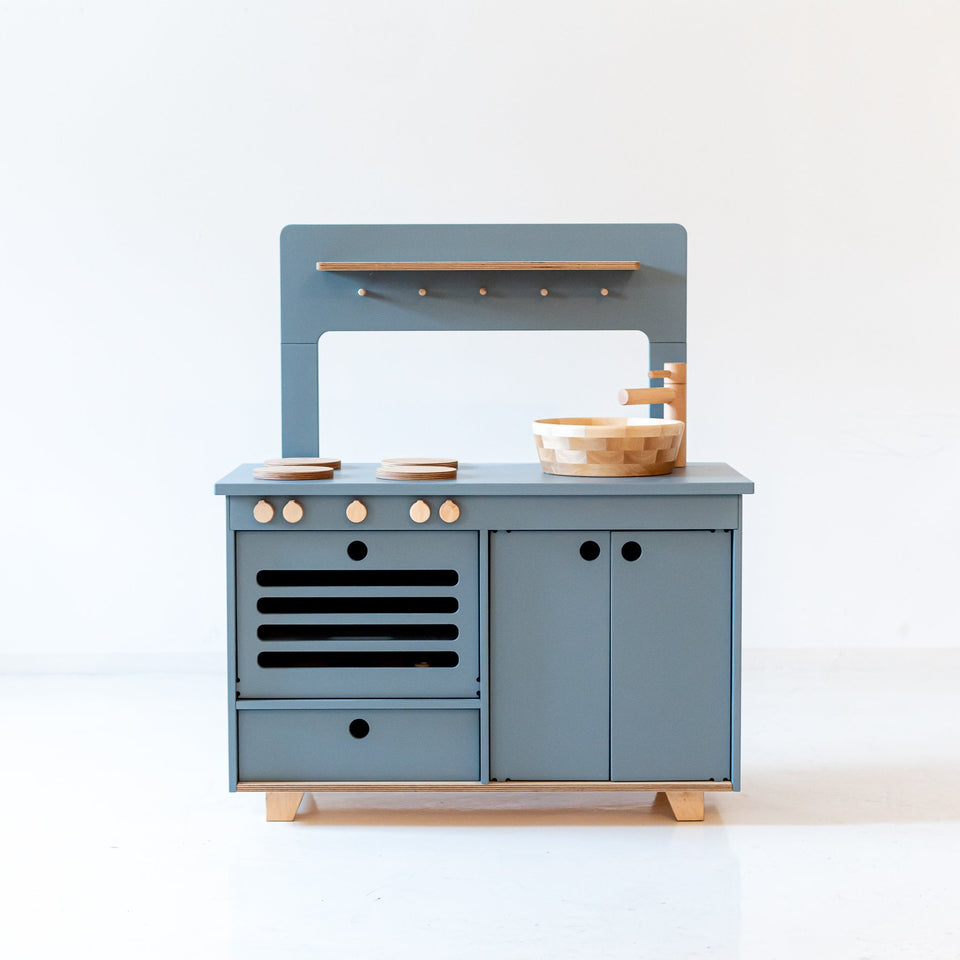 Dusty Blue Wooden Play Kitchen