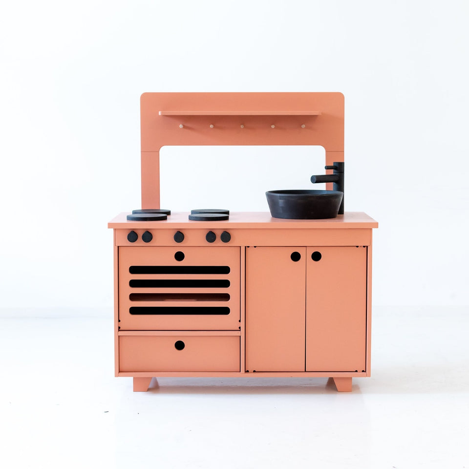 Handcrafted Wooden Play Kitchen - Dusty Pink