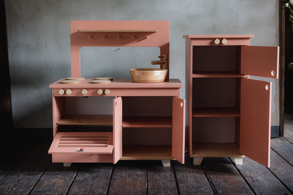 Dusty Pink Plywood Play Fridge