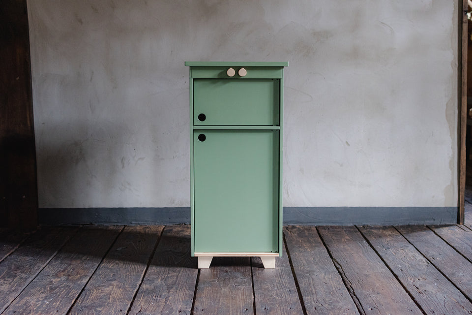 Dusty Blue Plywood Play Fridge