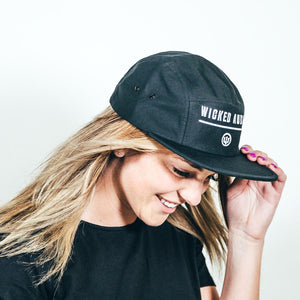WICKED AUDIO HAT - BLACK 5 PANEL WITH WHITE LOGO
