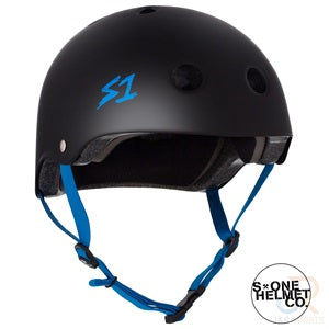 S1 Lifer Helmets - Black Matt inc Cyan Strap