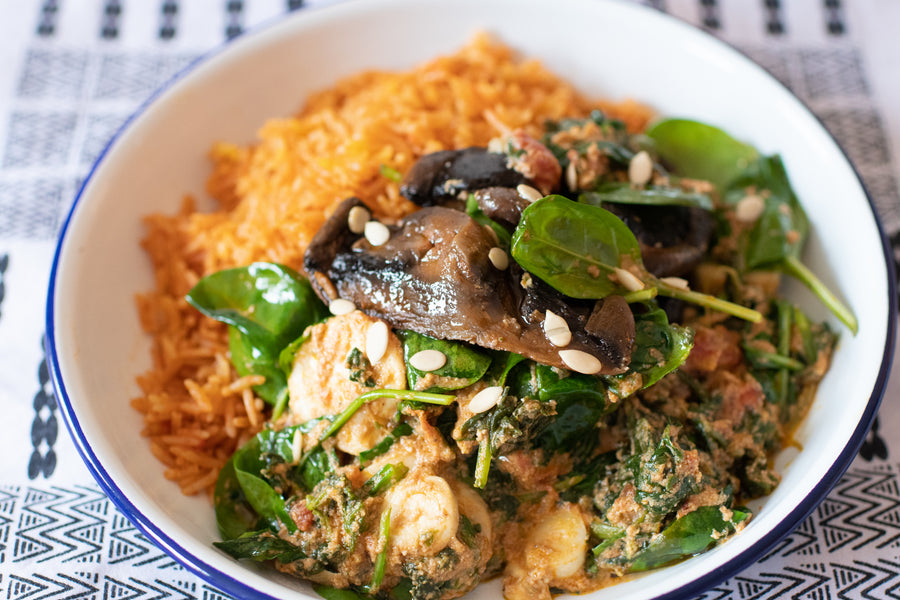 Spinach and Agushi Supper Club - Spinach and Agushi Vegan Jollof Meal